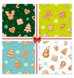 Christmas seamless pattern set hand drawn vector