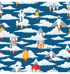 Clouds and space ships seamless pattern vector