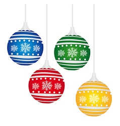 colorful christmas balls isolated over white backg vector image