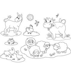 Coloring farm animals vector