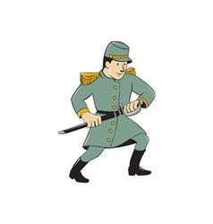 Confederate army soldier drawing sword cartoon vector