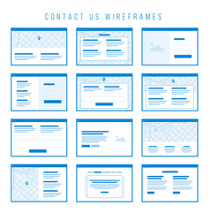 Contact us wireframe components for prototypes vector