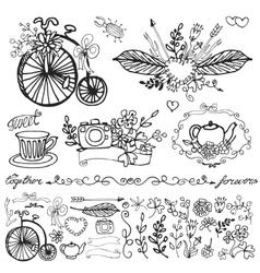 Doodle floral grouphand sketched element set vector