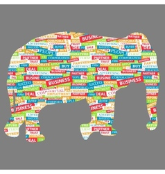 Elephant figurine made up of words on a business vector
