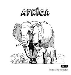 Elephants in african savanna vector
