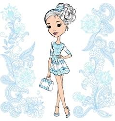 fashion cute happy girl vector image vector image