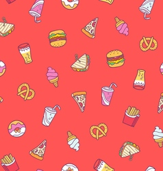 Fast food seamless pattern on red background vector image vector image