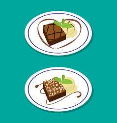 Fudge brownie on dish with icecream vector