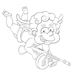 Funny little cupid with submachine gun vector