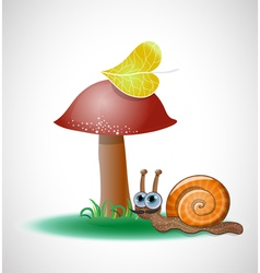 Funny snail near mushroom vector image vector image