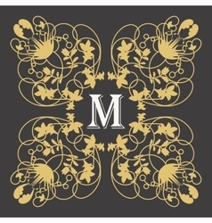 Gold monogram frame with letter m on dark vector image