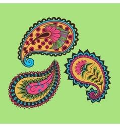 hand-drawing set paisley vector image