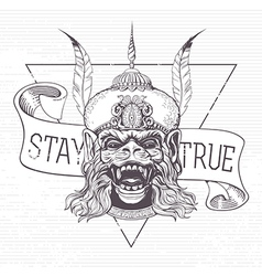 Hanuman grunge print vector