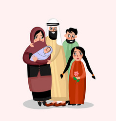 happy muslim family vector image vector image