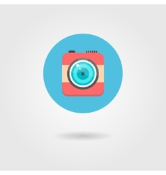 hipster photo camera icon in the circle with vector image