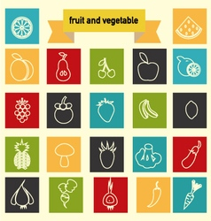 icon set with Healthy Food Vegetables and fruits vector image