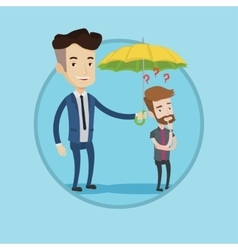 Insurance agent holding umbrella over young man vector