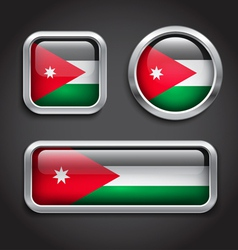 Jordan flag glass buttons vector image