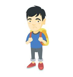 little asian sad schoolboy carrying a backpack vector image