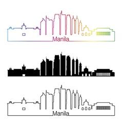 Manila skyline linear style with rainbow vector