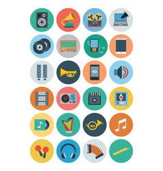 Multimedia flat icons 2 vector