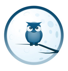 Owl and moon round icon vector