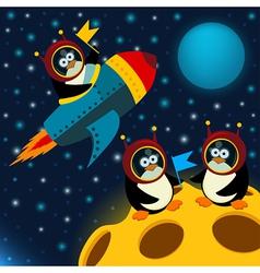 Penguin on moon vector