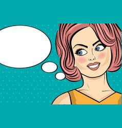 Pop art woman comic woman with speech bubble vector