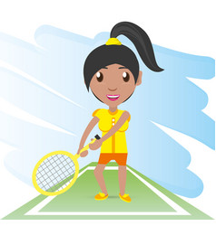 Pretty woman athlete playing tennis vector