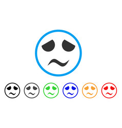 sad worried smile rounded icon vector image