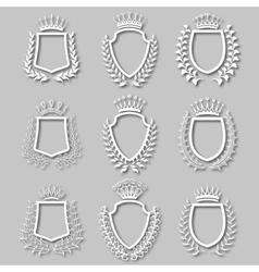 Set of laurel wreaths shields vector