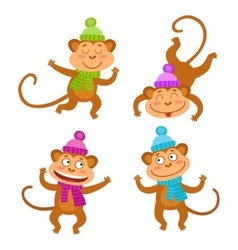 Set with funny monkeys cute little monkeys vector
