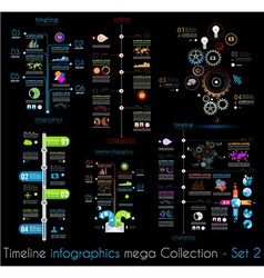 Timeline infographic design templates set 2 black vector