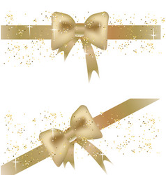 two christmas banners with golden bows vector image vector image