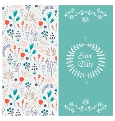 Wedding invitation 2 sides floral vector