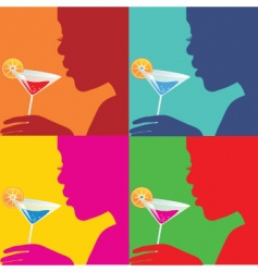 women with cocktails vector image vector image