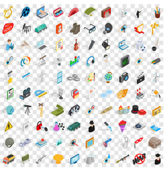100 employment icons set isometric 3d style vector