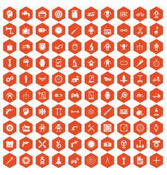 100 gear icons hexagon orange vector