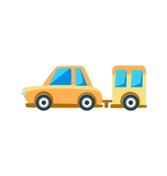 Yellow sedan with trailer toy cute car icon vector