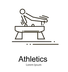 Gymnastics athlete at pommel horse doing exercise vector
