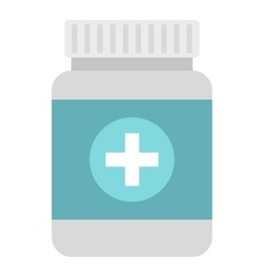 Tablets in plastic jar icon flat style vector