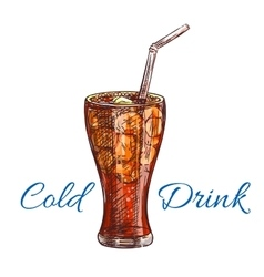 Cold soda drink with ice isolated sketch vector