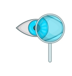 Eye exam and magnifying glass icon cartoon style vector