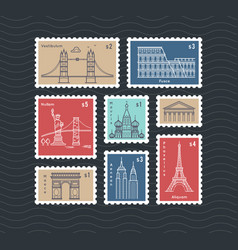 Postage stamps with line travelling city national vector