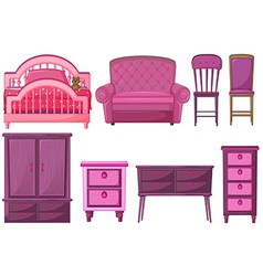 Furnitures in pink color vector