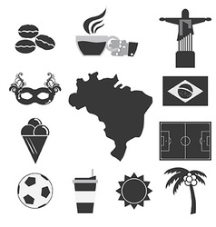 Brazil tourist attraction icons set vector