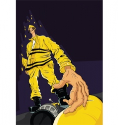 Fireman reaching for hose vector