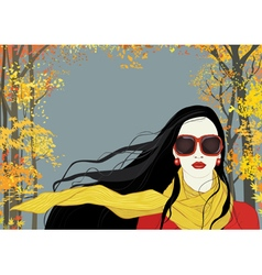 Girl with yellow scarf vector