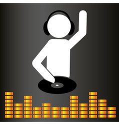 music club dj symbol and equalizer eps10 vector image