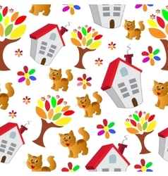 Seamless pattern with house cat and tree vector